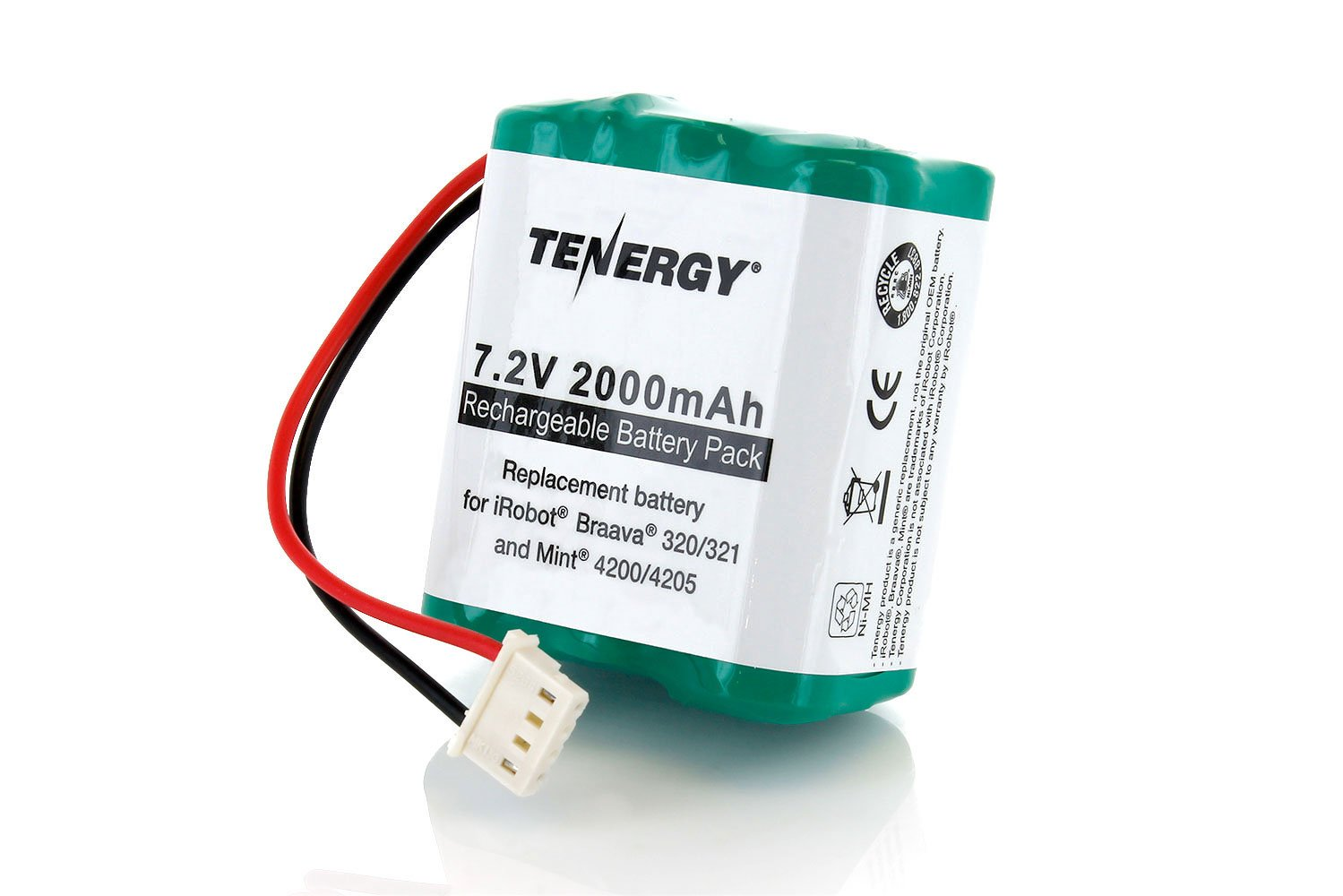 Tenergy 7.2V 2000mAh Replacement Battery for iRobot Braava 320/321 & Mint 4200/4205 11735