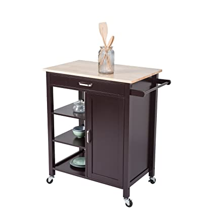 Worldrich Kitchen Island Trolley Cart With Wheels 4 Tier Utility Wood Rolling Kitchen Storage Cabinet With Drawer Towel Bar Shelves Wooden Top Table