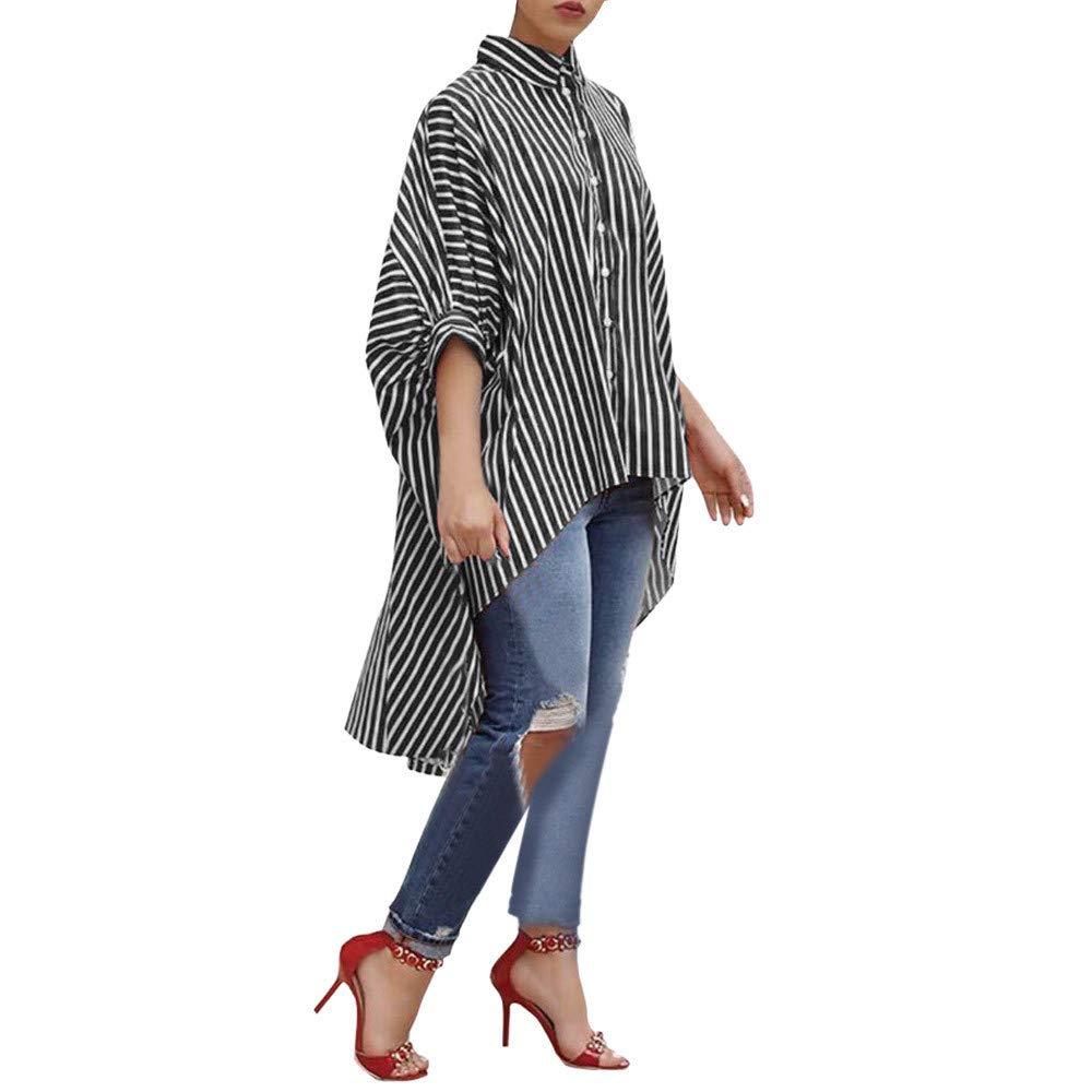 Black, S Women Cotton Striped Three Quarter Sleeve Shirt Casual Loose Blouse Button Tops SamMoSon Womens Down Coats Parkas Cute Sweatshirts for Women