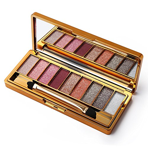 9 Colors Diamond Bright Colorful Eye Shadow Palette Glitter Eyeshadow Palette with Mirror (# 7)