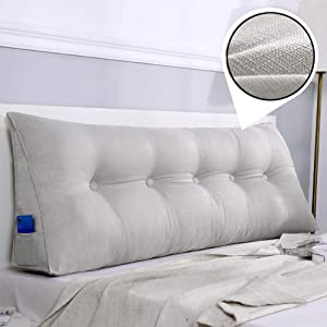 YOCASA Large Sofa Bed Sitting Pillow,Linen Soft Filled Reading Pillow Triangular Wedge Backrest Pillow Headboard Cushion for Dorm Bedroom Living Room Gray 120x50x20cm(47x20x8inch)