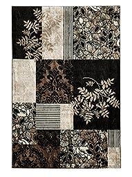 Linon Elegance 8\' x 10\' Marble Pattern Rug in Black