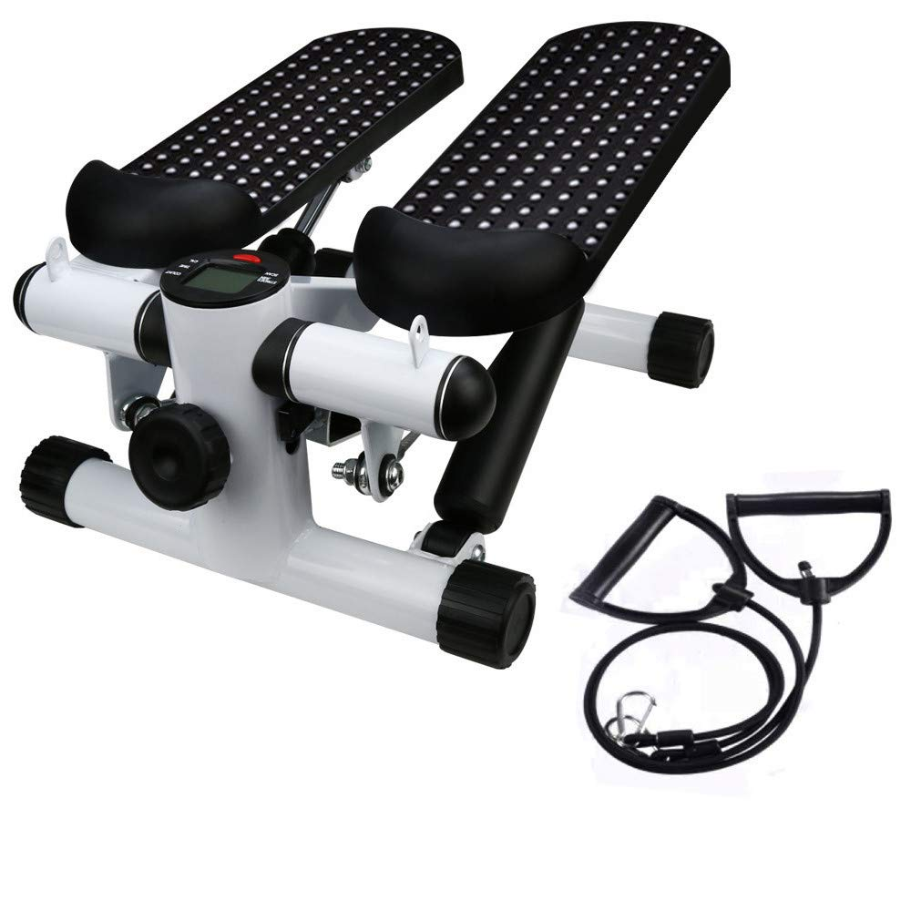 Basde Portable Mute Stepper Pedal, Lightweight Household Office Air Stepper Climber Exercise Fitness Sports Stepper Legs Exercise & Fitness Step Machines with Resistance Bands for Wowen Man (Black)
