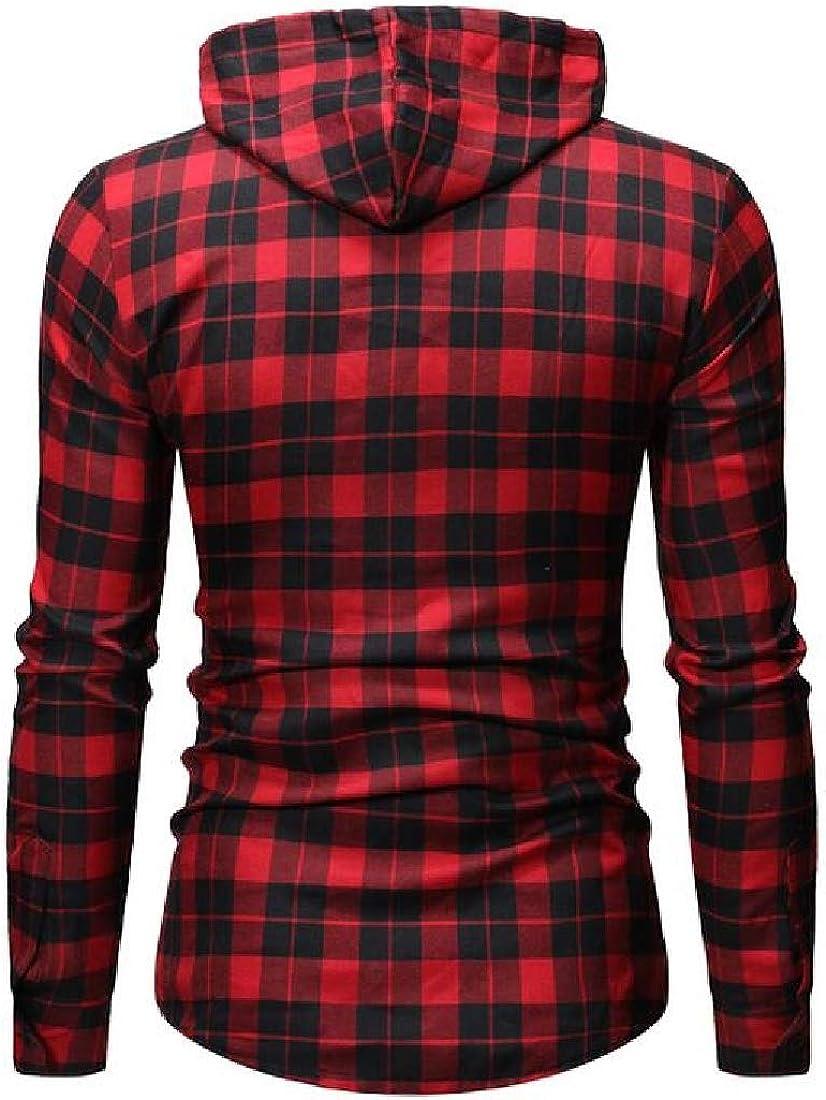 JXG Men Long Sleeve Hoodie Plaid Check Drawstring Buttons Classic Dress Shirts