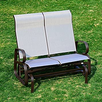 Great Outsunny 2 Person Outdoor Mesh Fabric Patio Double Glider Chair   Brown And  Beige