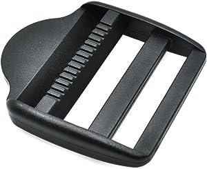 """10pcs Ladder Lock Slider Plastic Buckles Backpack Straps Webbing Black (2""""(50mm))"""