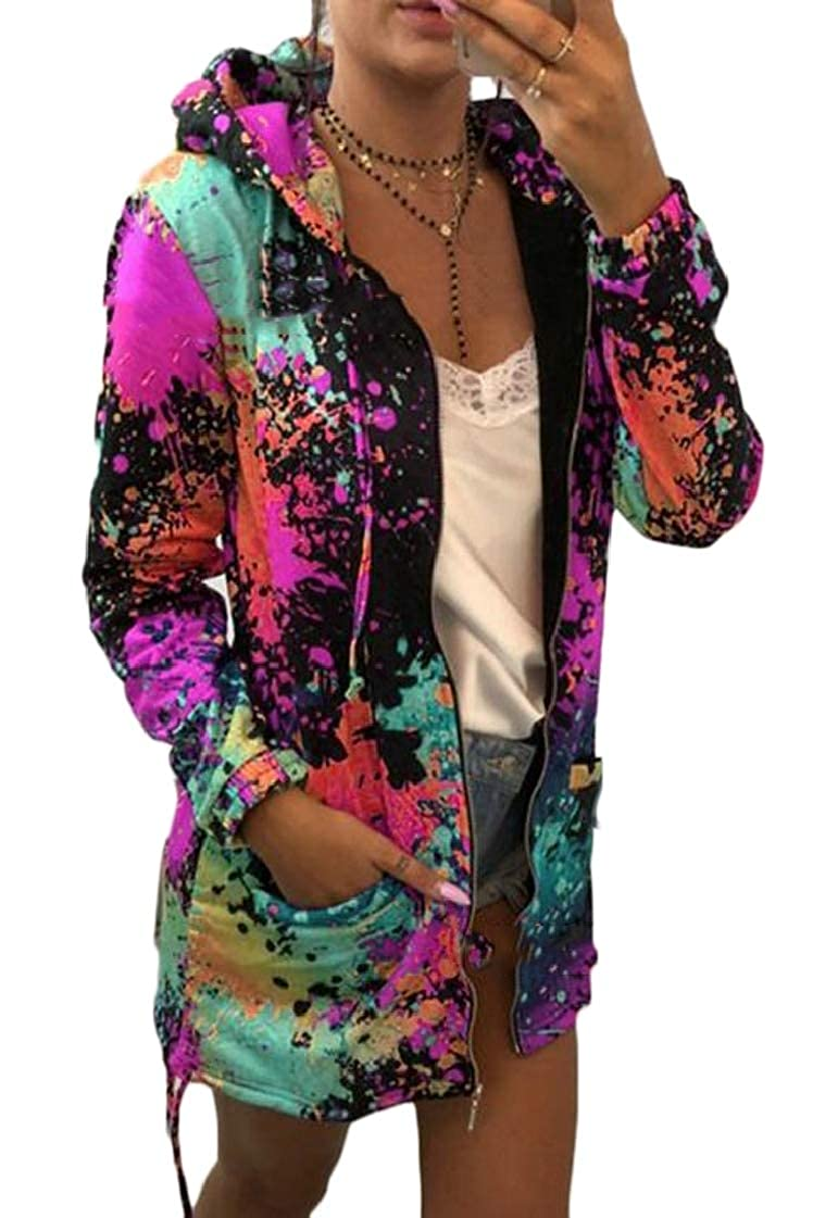 Lutratocro Womens Hoodies Print Multi-Color Full-Up Tops Jacket