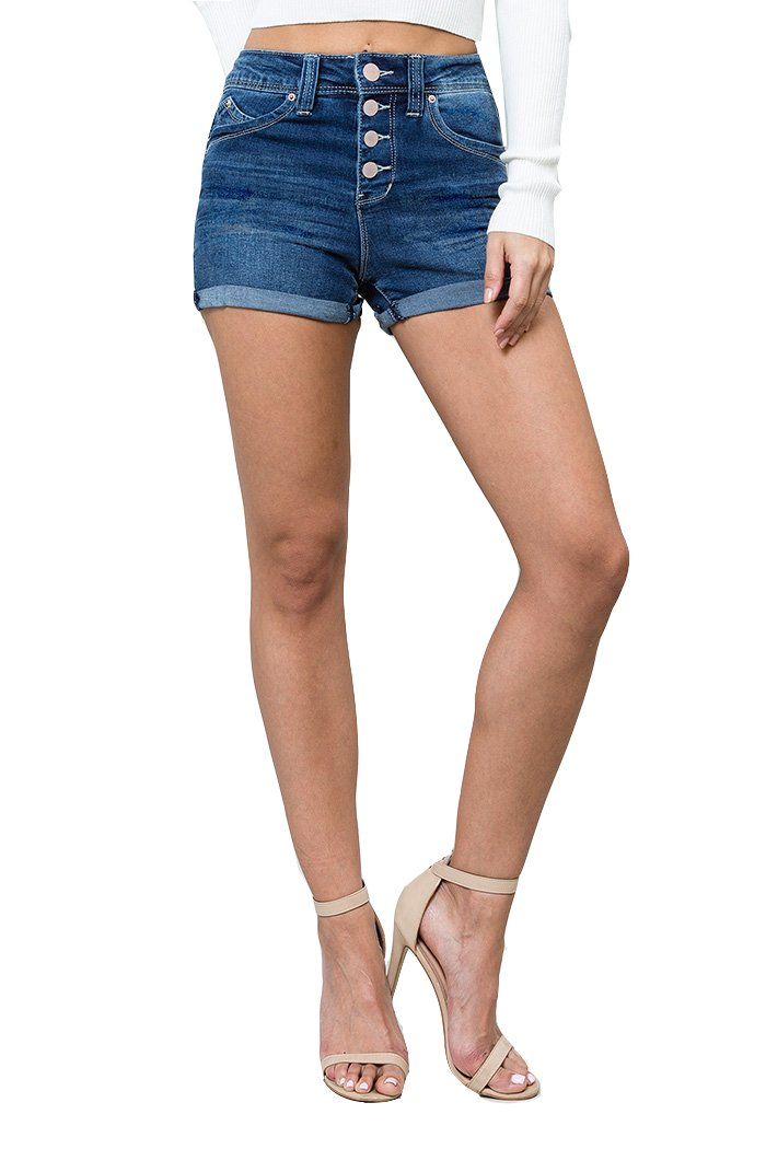 YMI Junior Women's Wannabettabutta High-Rise Cuffed Shorts (Dark Wash, 1)