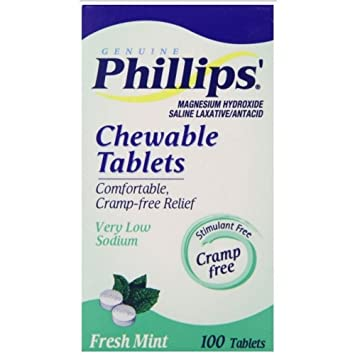 Phillips Magnesium Hydroxide Chewable Tablets, Fresh Mint - 100 Ea (Pack of 36)