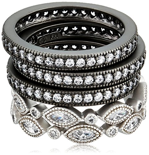 Freida Rothman Womens Signature Classic Marquise Eternity 5-Stack Stackable Ring, Black & White, Size 8