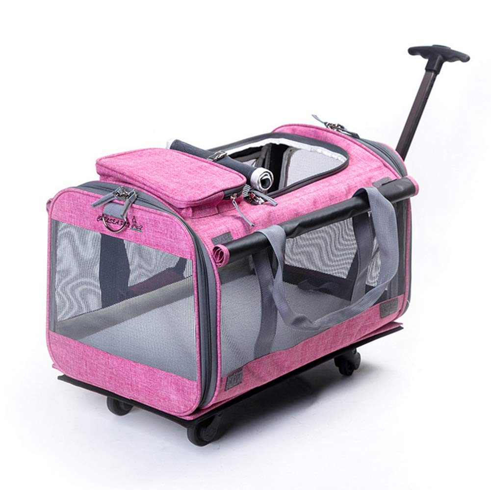 Pink Pet Trolley Case Pets Carrier Travel Bag Large Folding Backpack Luxury Strollers Dog Stroller Linen (Pets up to10kg)31  50  30.5cm