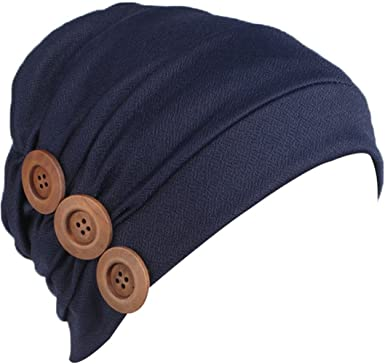 9984cae515b Ababalaya Women s Soft Buttons Decorated Solid Pleated Chemo Beanie Muslim  Turban Nightcap One Size Navy Blue