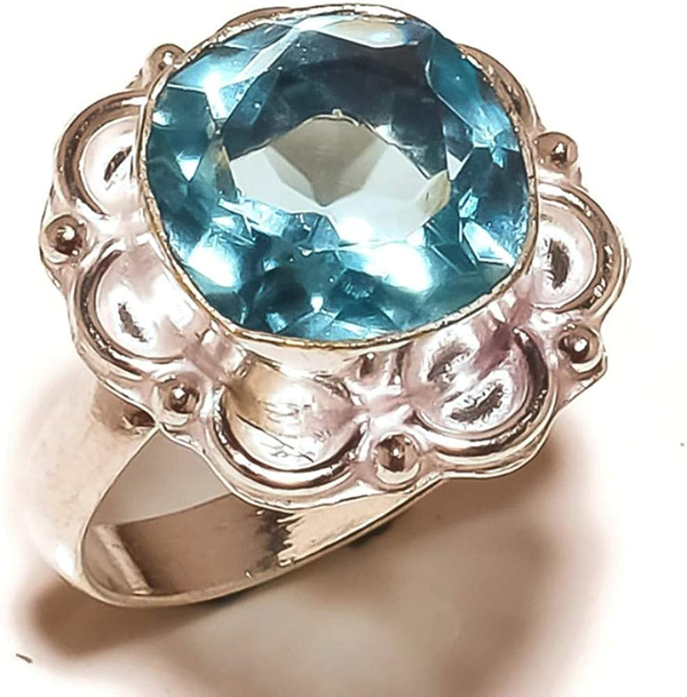 Jewels House Swiss Blue Topaz Faceted Gemstone Silver Plated Handmade Statement Blue Stone Ring US-10.25