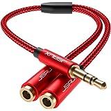 JSAUX Headphone Splitter, Audio Splitter 3.5mm Male TRS to 2 Dual 3.5mm Female Adapter Nylon-Braided Stereo Y Aux Cable Split
