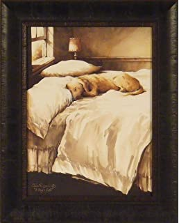 A Dogu0027s Life By John Rossini 17x21 Yellow Lab Labrador Dog Sleeping On Bed  Framed Art