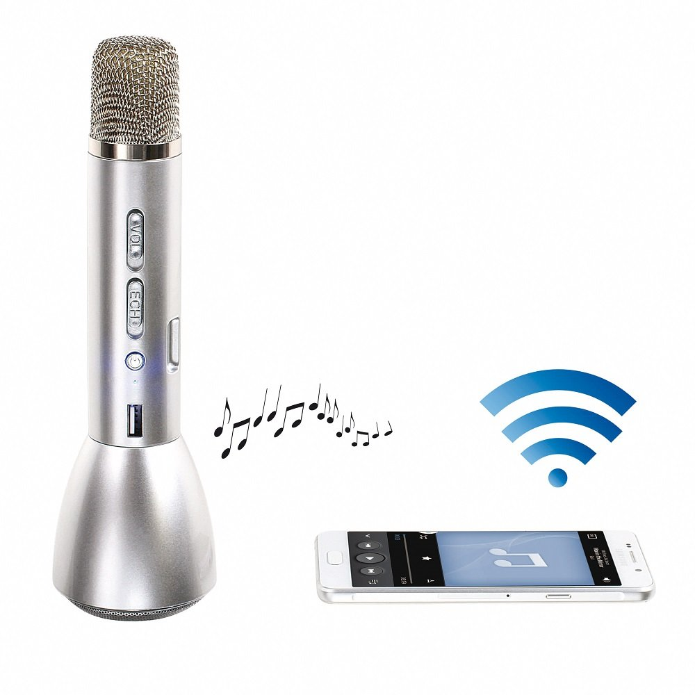 Clip Sonic Technology tes173 Karaoke 3 en 1 Bluetooth 3 W para Smartphone/iPhone/Tablet/PC Plata