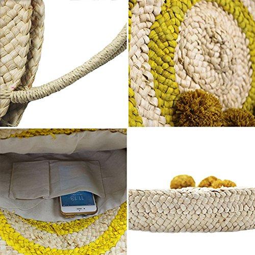 Female Popular Meaeo Bag Handmade Bag Vintage Bags Shoulder Women Large Weave Straw Lady Beach Handbag xtqIwTq