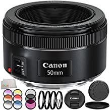 Canon EF 50mm f/1.8 STM Lens 8PC Filter Kit. Includes Canon EF 50mm f/1.8 STM Lens + 3PC Filter Kit (UV-CPL-FLD) + 4PC Macro Filter Set (+1,+2,+4,+10)+ 6PC Graduated Filter Kit + More - International Version (No Warranty)