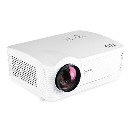 Uhappy H1 - HD Proyector TDT (DVB-T Digital TV, 720P, HDMI/USB/SD/DTV/AV/VGA, 1280*768, Zoom) Cine Teatro - Blanco