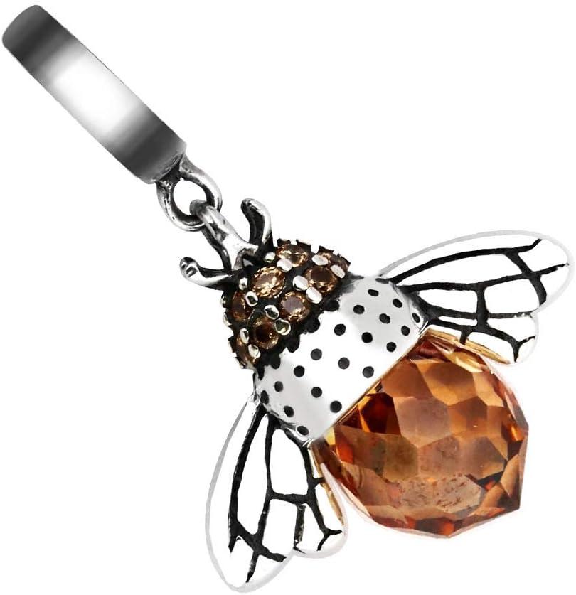 ENET Pendentif Abeille Reine en Argent Sterling 925 V/éritable Europ/éen pour Collier Bracelet Cadeau