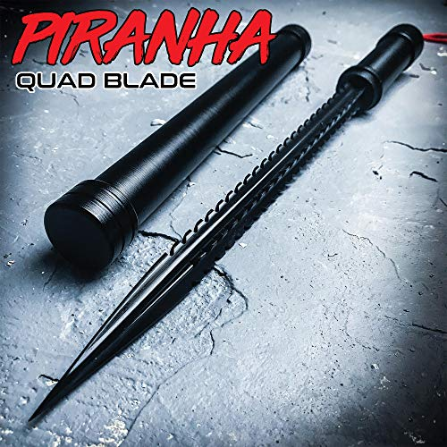 K EXCLUSIVE Black Piranha Tooth Dagger with Pipe Sheath - Stainless Steel Quad-Edged Blade, Aluminum Handle, Lanyard Cord - Length 16 3/4