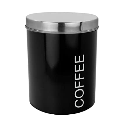 Harbour Housewares Metal Coffee Canister Secure Rubber Seal Black