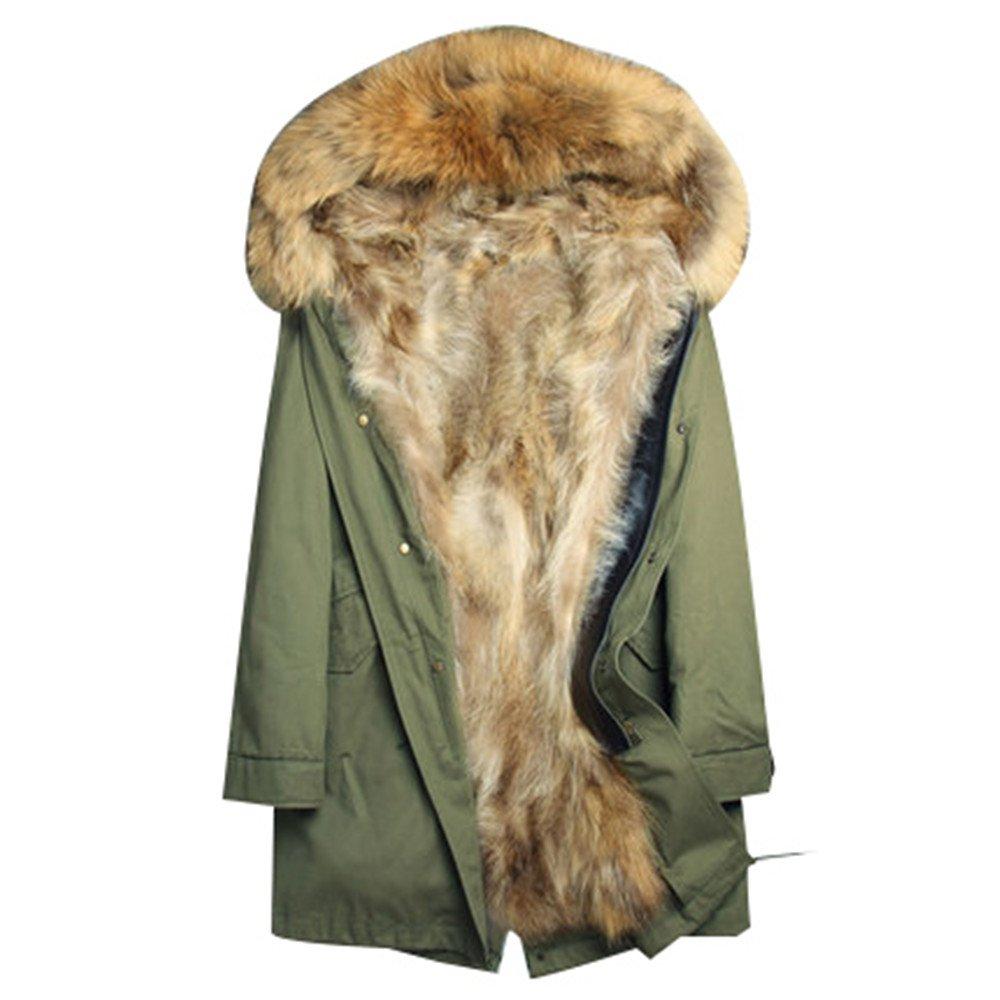 ファーモッズコートメンズ ファーコート ロング丈毛皮コート 大きいサイズファーパーカー暖かいファー付き取り外し可 冬アウター ミリタリー コートロングコートフォックスカッコイイ 防寒ふわふわ贅沢感 B077XCVNJH XL|アーミーグリーン2 アーミーグリーン2 XL