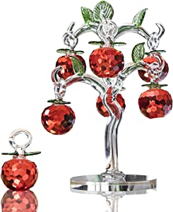 H&D Crystal Apple Tree Figurine,Fengshui Crafts Souvenir Home Decor Gift