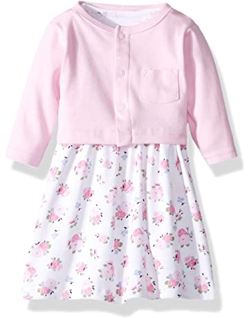 ee40d85d8582 Luvable Friends Baby Girls  Dress and Cardigan Set