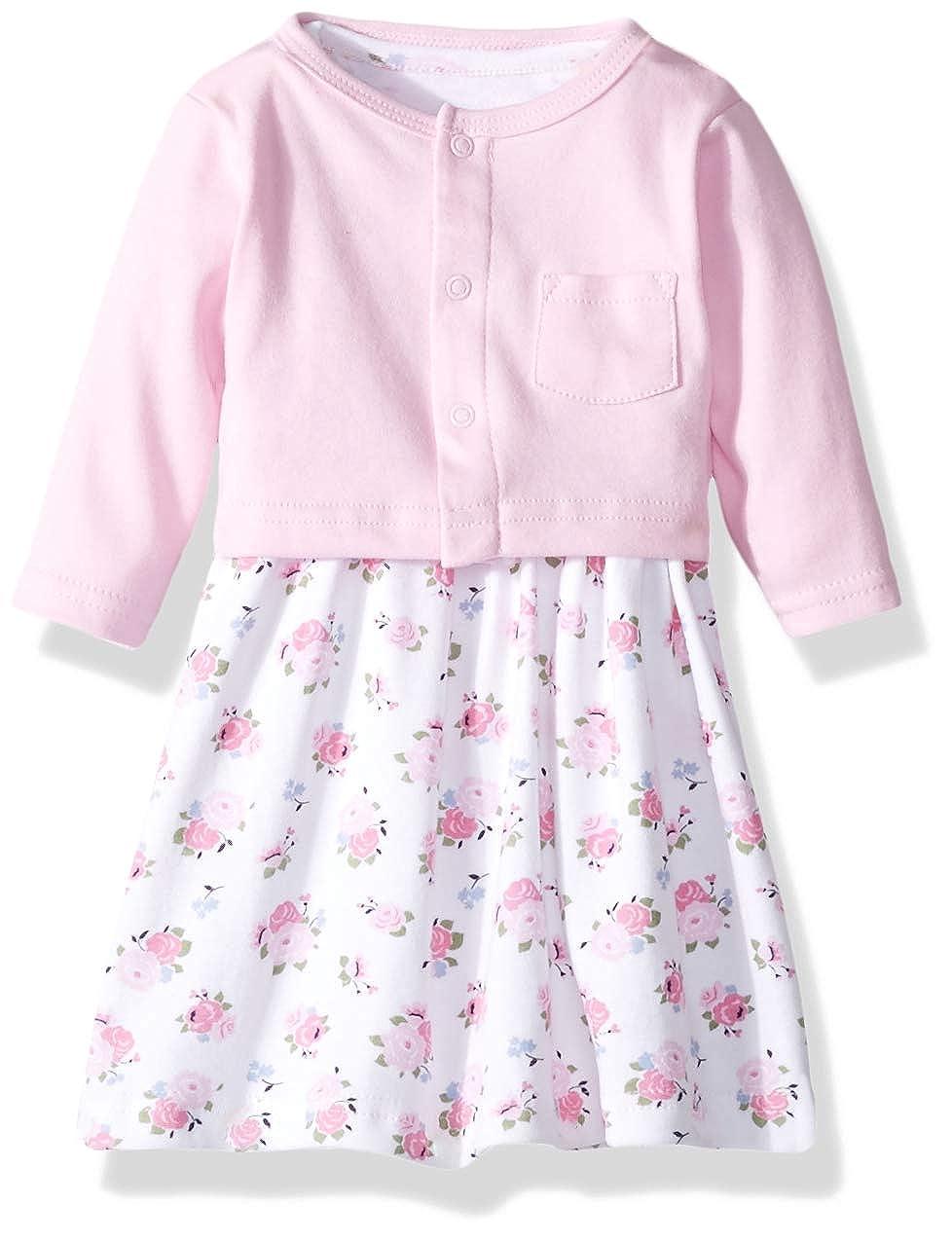 4cd286cb950c Amazon.com  Luvable Friends Baby Girls  Dress and Cardigan Set  Clothing