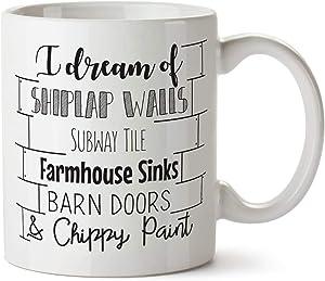 Skitongift Fixer Upper Mug, Fixer Upper Gift, Joanna Gaines, Shiplap Walls Mug Chippy Paint Mug Farmhouse Decor Funny Coffee Mug Interior Designer Gift