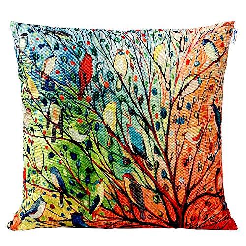 Anickal Cotton Linen Square Decorative Throw Pillow Case Cus