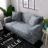 DW&HX Anti-Slip Stretch Sofa slipcovers,1-Piece Polyester Couch Cover Furniture Protector with Elastic Straps for 1 2 3 4 Cushions Sofas Without Pillowcase-Grid Gray Sofa