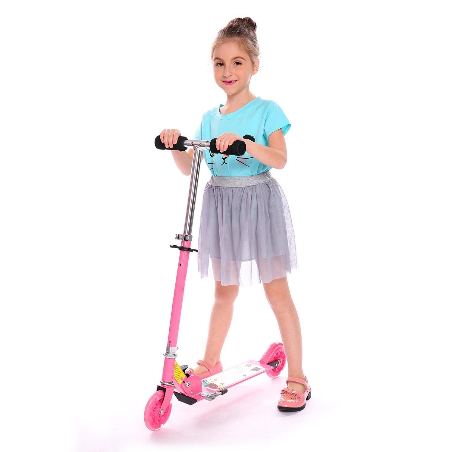 Foldable Kids Kick Scooter with LED Light Up Wheels, Adjustable Height Handle Push Foot scooter for Boys Girls Children 3+ Years Old, Pink/Blue