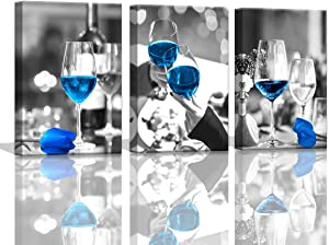 Wine Decor for Kitchen Canvas Art Blue Dining Room Wall Pictures for Kitchen Wall Decor Blue Tulips Flower Wall Art Kitchen Decorations Theme Sets Wall Art for Dining Room Bar Decor Framed Wall Art