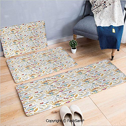 3 Piece Flannel Bath Carpet Non Slip Pattern with Accessories Diamond Rings and Earring Figures Image Digital Print Decorative Front Door Mats Rugs for Home(W15.7xL23.6 by W19.6xL31.5 by W15.7xL39.4)