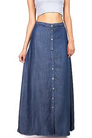 70922a9cd2 LOVE STITCH Women's Juniors Long Denim Maxi Skirt (M, Dark Denim) at Amazon  Women's Clothing store: