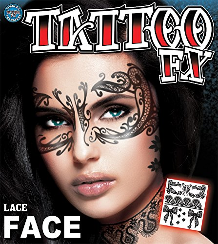 Tinsley Transfers Lace Face Tattoo Adult Accessory (Temporary Face Tattoos Halloween)