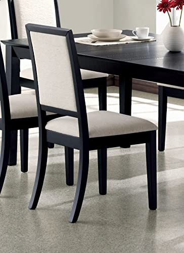 Coaster Home Furnishings Set of 2 Dining Chairs Creme Chemile Distressed Black Finish