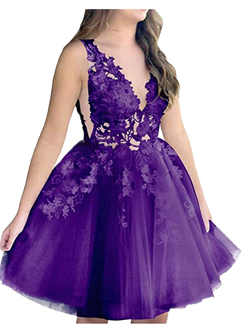Purple FWVR Women's Short Prom Dress Appliques Homecoming Dresses for Juniors 2019