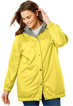 da390735575 Woman Within Plus Size Fleece Nylon Reversible Rain Jacket - Citron Medium  Heather Grey