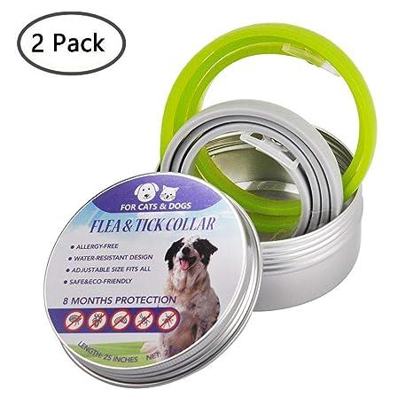 Volwco 2 Paquete Collar Antipulgas para Perros y Gatos, Collares Antiparasitario para, 8 Meses de Protección, Ajustable de Largo, Fórmula Natural - ...