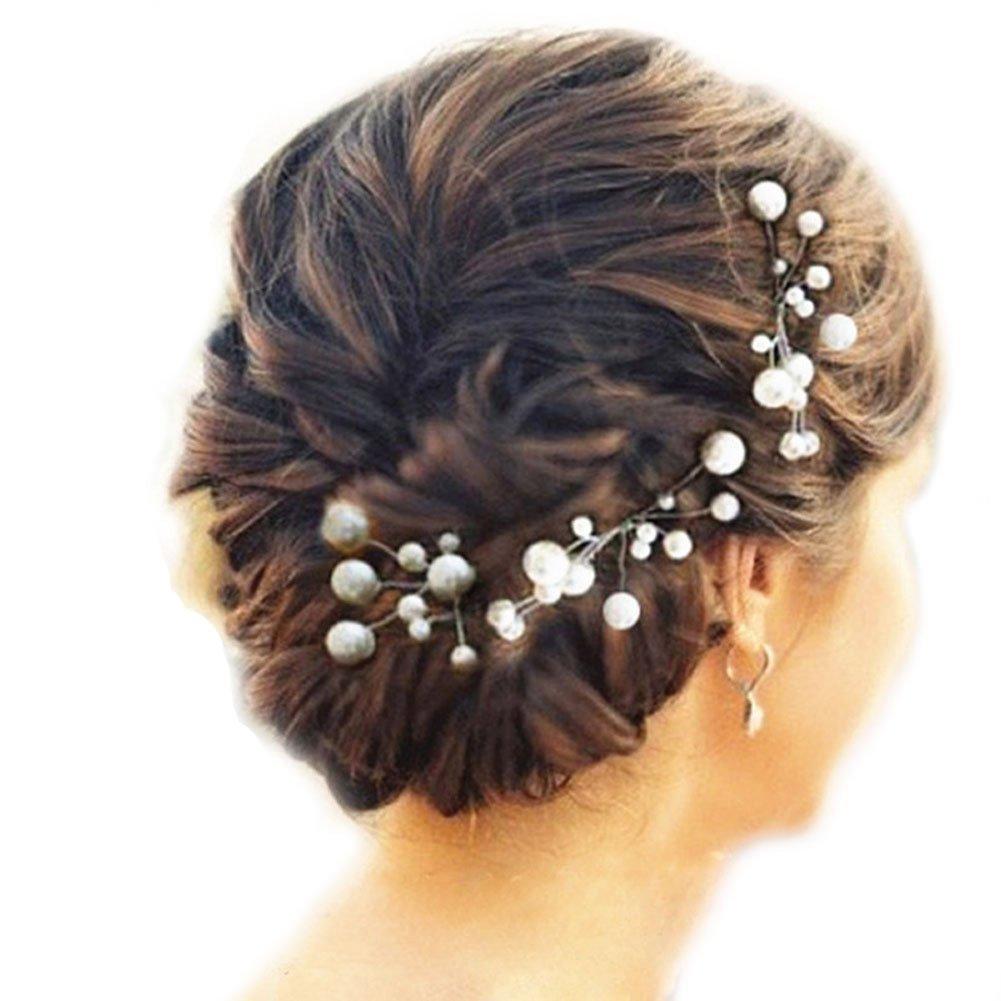 Brautschmuck haare blumen perlen  Musuntas 6 Stk. Perlen Strass Hochzeit Brautschmuck Braut ...