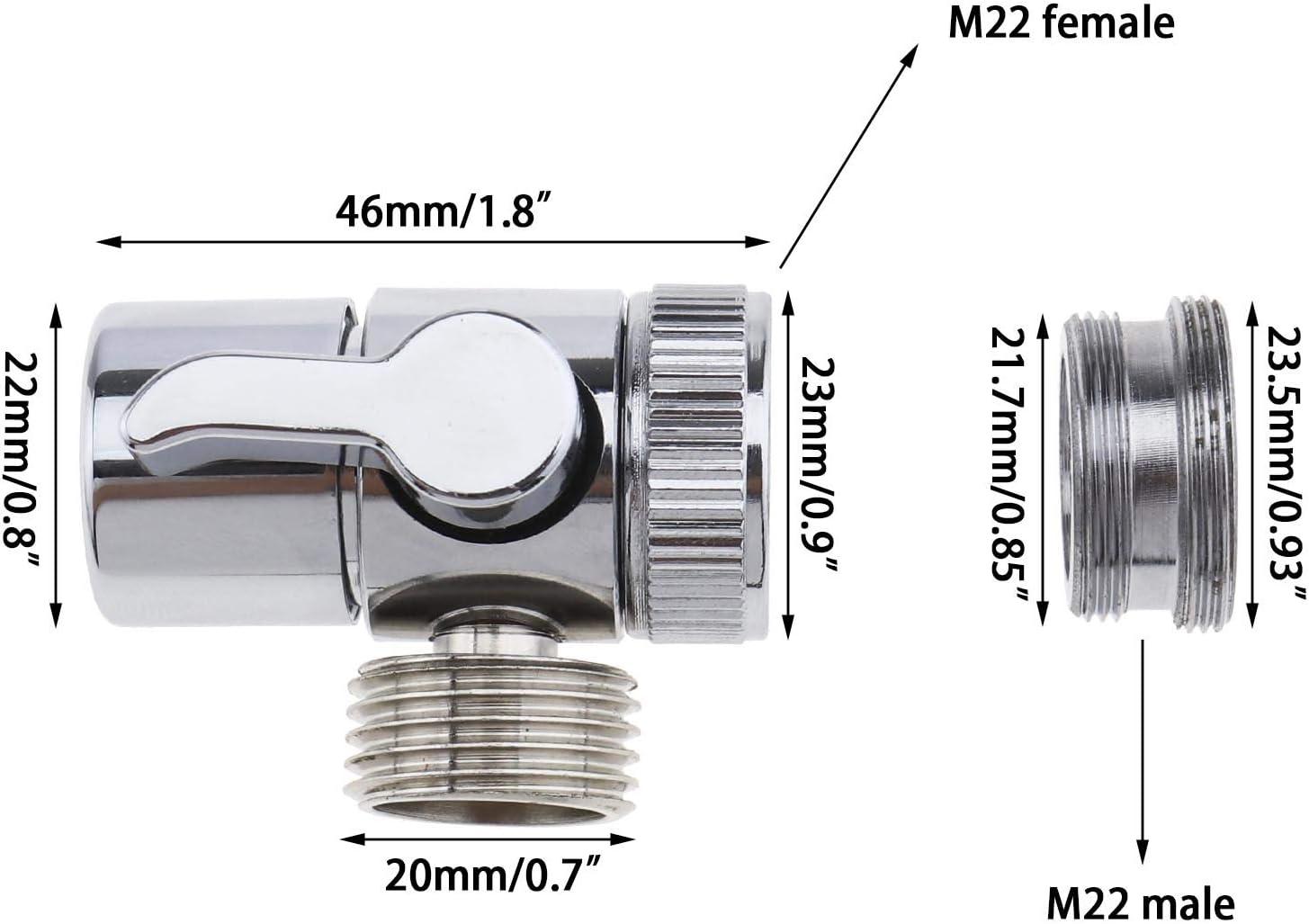 v/álvula desviadora de lat/ón cromado 3 v/ías cocina inodoro YINETTECH Divisor de grifo a adaptador de manguera M22 x M24 para ba/ño
