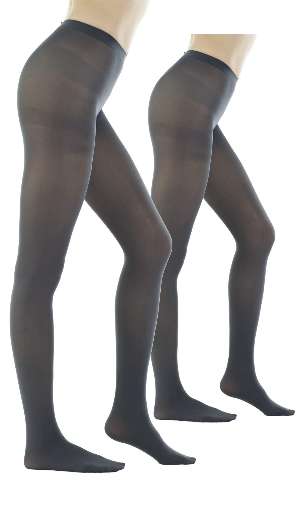 Women's 80 Denier Semi Opaque Solid Color Footed Pantyhose Tights 2Pair