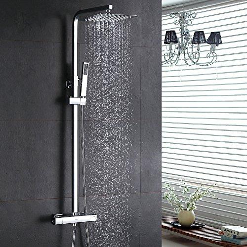 Homelody® inkl. Thermostat Duschset Chrom eckig Duschsystem DuscharmaturÜberkopfbrauseRegendusche Handbrause Regenbrause mit Duschpaneel