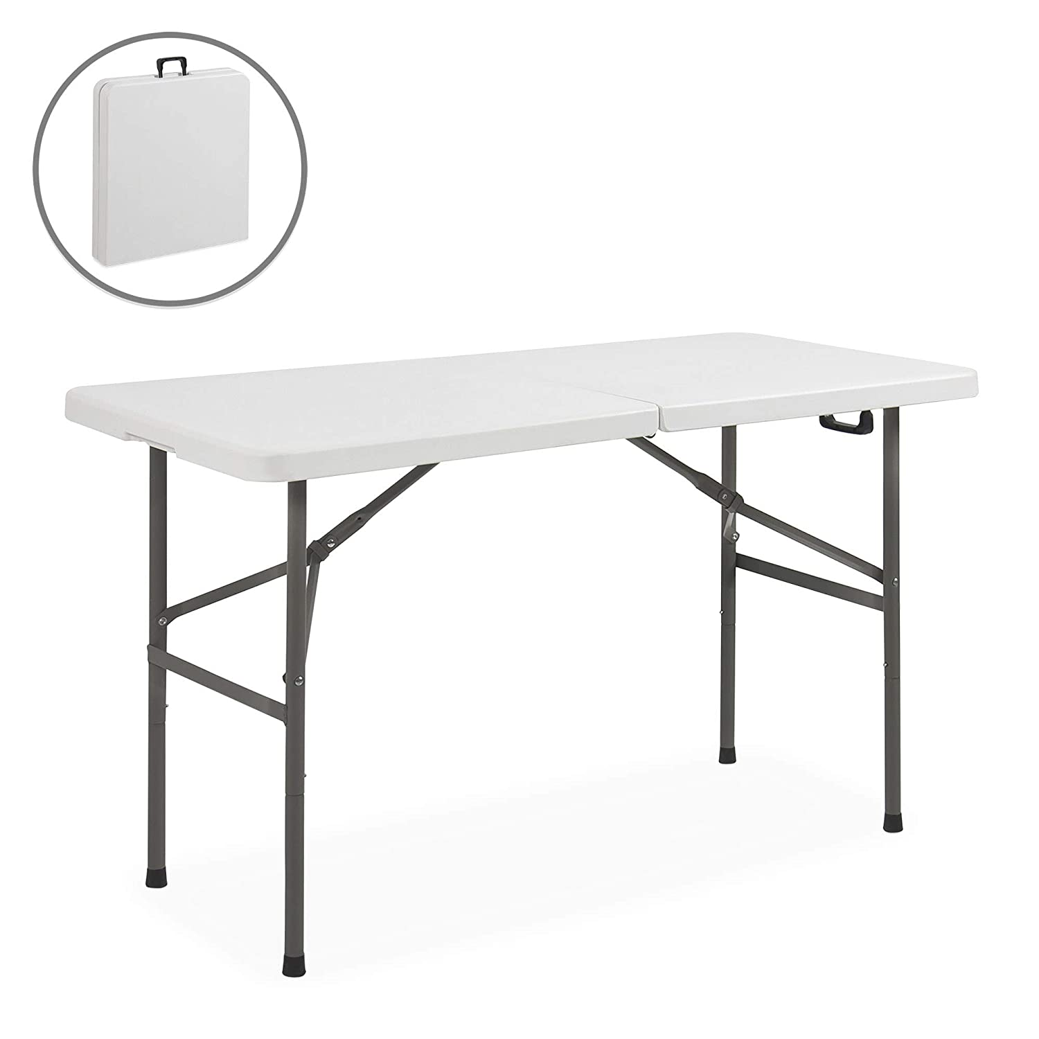 Best Choice Products Portable 4 Foot Folding Utility Table - White
