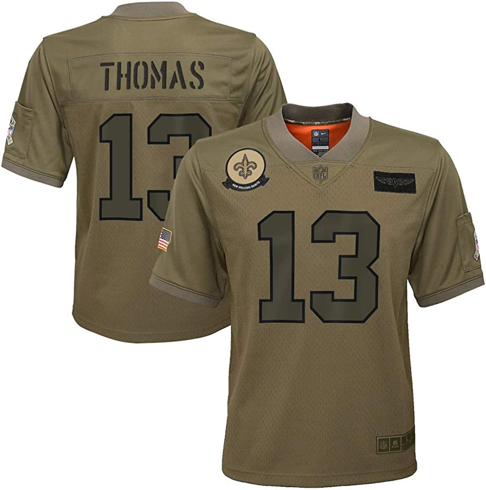 Nike Michael Thomas New Orleans Saints NFL Boys Youth 8-20 Camo Green Salute to Service On-Field Game Day Jersey