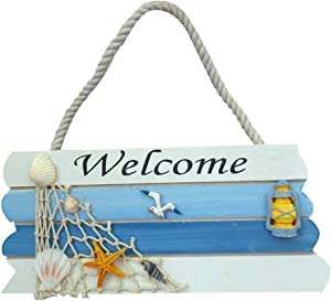 FRECI Wooden Welcome Sign Hanging Wall Welcome Sign Board for Beach Boat Ocean Seaside Theme Plaque Ornaments Home Door