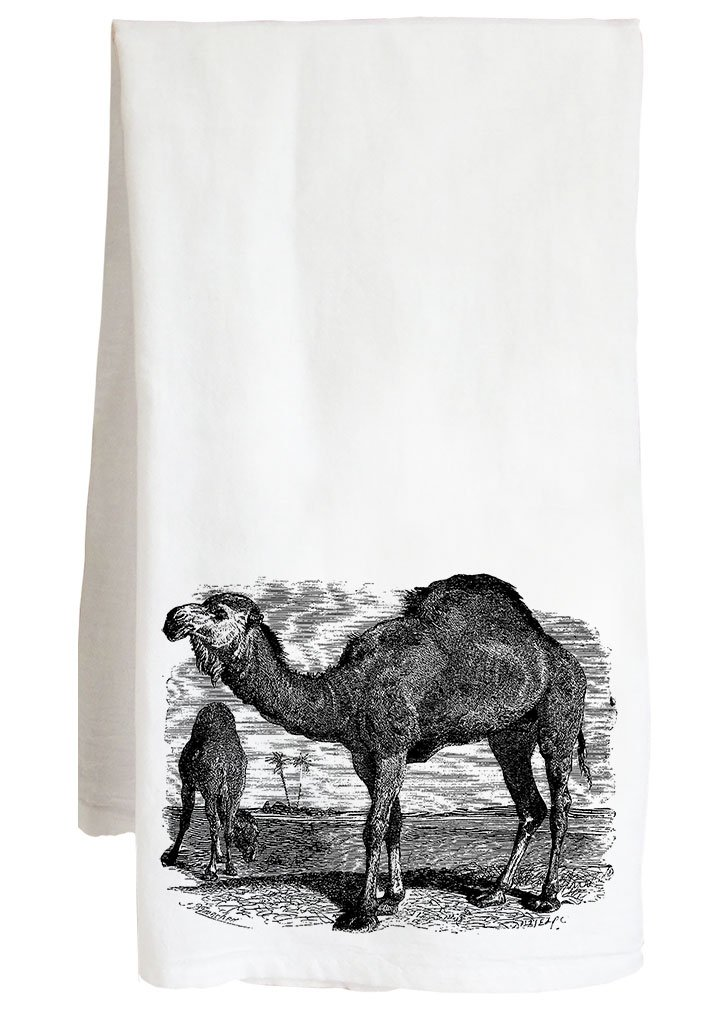 Live Nice CAMEL VINTAGE ANIMAL - desert animal - Farm Flour Sack Kitchen Tea Towel